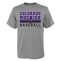 MLB Colorado ROCKIES TEE Short Sleeve Boys OPP 90% Cotton 10% Polyester Gray Team Tee 4-18