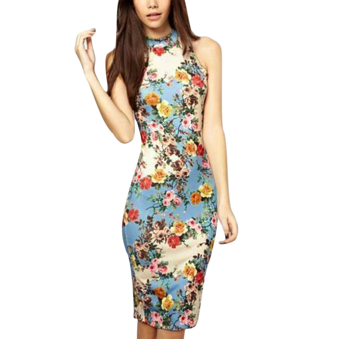 Women's Floral Prints Stand Collar Sleeveless Bodycon Wiggle Dress Blue (Size M / 8)