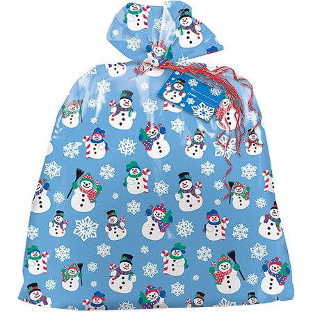 Large Plastic Snowman Holiday Gift Bag, 3.75 x 3 ft, 1ct