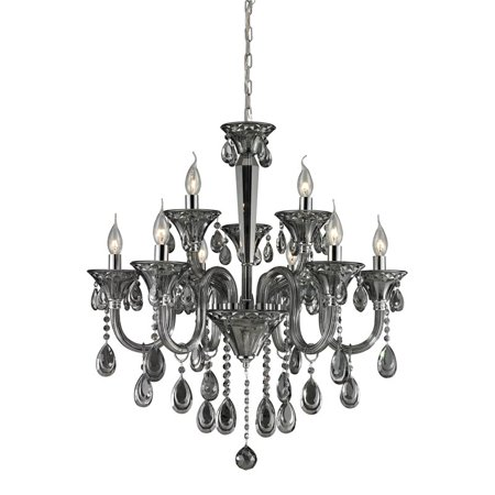 Nulco Lighting Formont 80013 6 3 Light Crystal Chandelier In Smoke Plated Chrome Finish