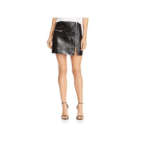 Blank NYC Womens Metallic Patent Leather Mini Skirt