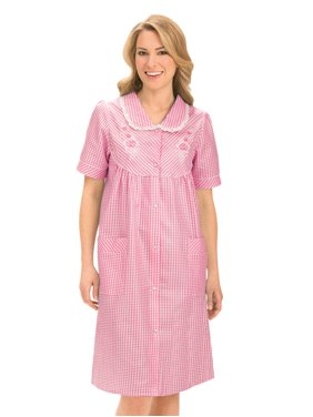 fd06a8036a44 Product Image Women s Floral Gingham Print Pocket Lounge Robe with Snap  Front Closure and Lace Trim