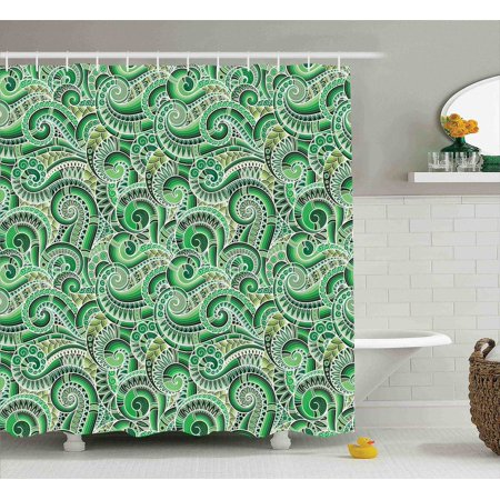 Asian Decor Shower Curtain Set Classic Design Swirl Cucumber Illustration Curvy Outline Mexican Vegetable Summer