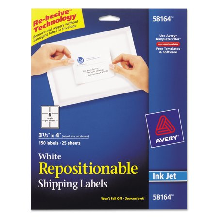 Avery Repositionable Shipping Labels  Inkjet Laser  3 1 3 X 4  White  150 Box
