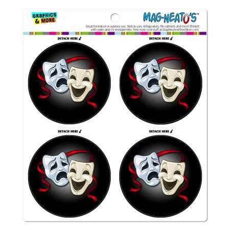 Drama Comedy Tragedy Masks Theater MAG-NEATO'S(TM) Car/Refrigerator Magnet Set