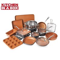 Gotham Steel 20 Piece All in One Kitchen Cookware + Bakeware Set with Nonstick Durable Ceramic Copper Coating  Includes Skillets, Stock Pots, Deep Square Fry Basket, Cookie Sheet and Baking Pans
