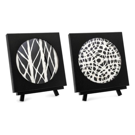 Set Of 2 Black And White Modern Style Rectangular Framed Paper Art With Easel 19