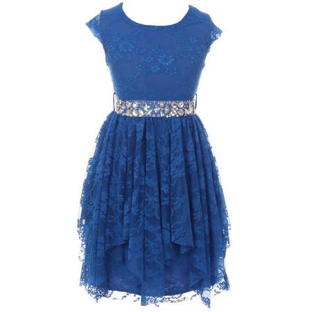 Little Girls Cap Sleeve Floral Lace Rhinestones Belt Asymmetrical Princess Flower Girl Dress Royal 4 (2J0K9S5)