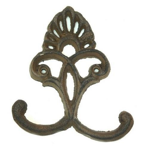 "0170S-01555 Solid Cast Iron Crown Hooks 4 3/4"" x 4"" Set Of 6 Rust Two Holes"