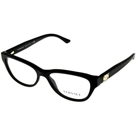 Versace Women Eyeglasses Designer Black Oval VE3204 GB1 Size: Lens/ Bridge/ Temple: (Versace Designer Eyeglasses)