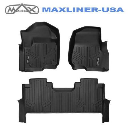 Maxliner 2017-2019 Ford F250 F350 F450 Super Duty Crew Cab 1st Row Bench Seat Floor Mats