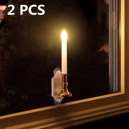 2Pcs Outdoor Solar Power Candle Light Wall Window Lawn Lamp Light Romantic Decor (Solar Window Candles)