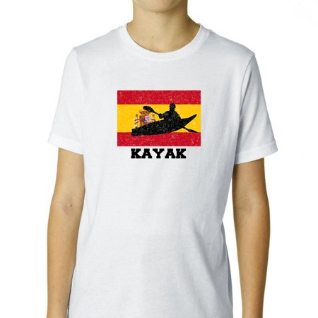 Spain  Olympic - Kayak - Flag - Silhouette Boy's Cotton Youth T-Shirt
