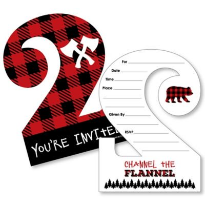2nd birthday lumberjack channel the flannel shaped fill in invitations buffalo plaid second birthday party invitation cards with envelopes set