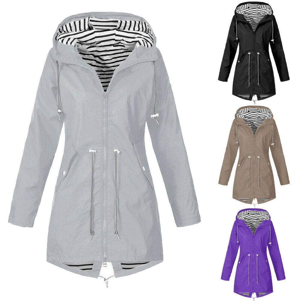 Womens Hooded Jacket,Ladies Casual Pockets Zip Up Button Long Sleeve Solid Plus Size Outdoor Coat