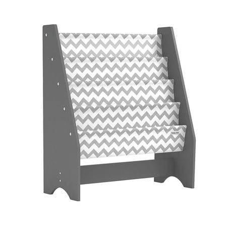 Pidoko Kids Sling Bookcase, Grey with Chevron | Wooden Children's Bookshelf with Pocket Storage Book Rack - Canvas ()