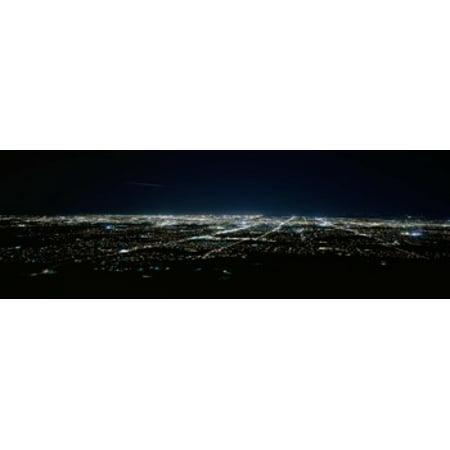 Aerial view of a city lit up at night Phoenix Maricopa County Arizona USA Poster Print