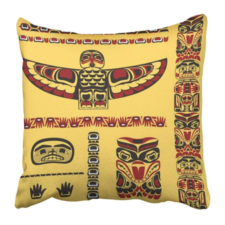 CMFUN Red Totem Canadian Native in Yellow Canada Inuit Northwest Pacific Haida Pillow Case Cushion Cover 20x20 inch