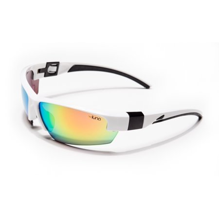 Luna Mercury Running Cycling Sunglasses with Hard Protective Case (Mirrored Lenses, White/Black (Luenx Sunglasses)
