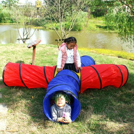 Ktaxon Kids 4-way Play Tunnel 8 Feet Pop up Tent Toy Baby Play Tube w/Storage Bag