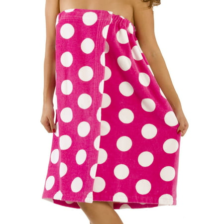 Bylora Polka Dotted Women Bath Wrap Towel Cotton Cover Up   S M  Fuchsia