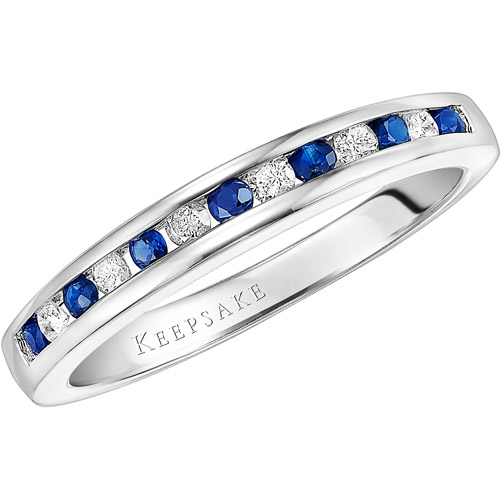 Keepsake Juniper 1/2 Gemstone T.W. Certified Diamond and Sapphire Sterling Silver Wedding Band
