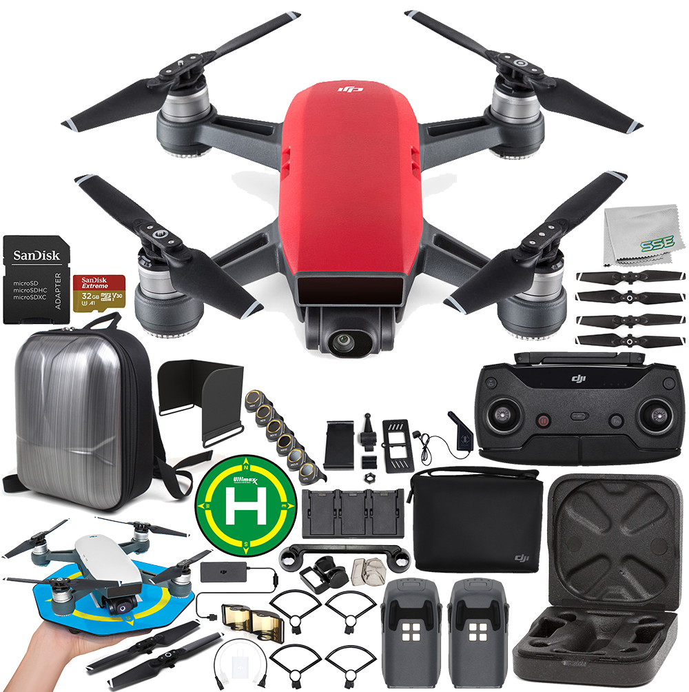 DJI Spark Portable Mini Drone Quadcopter Fly More Combo (Lava Red) Ultimate Accessory Bundle