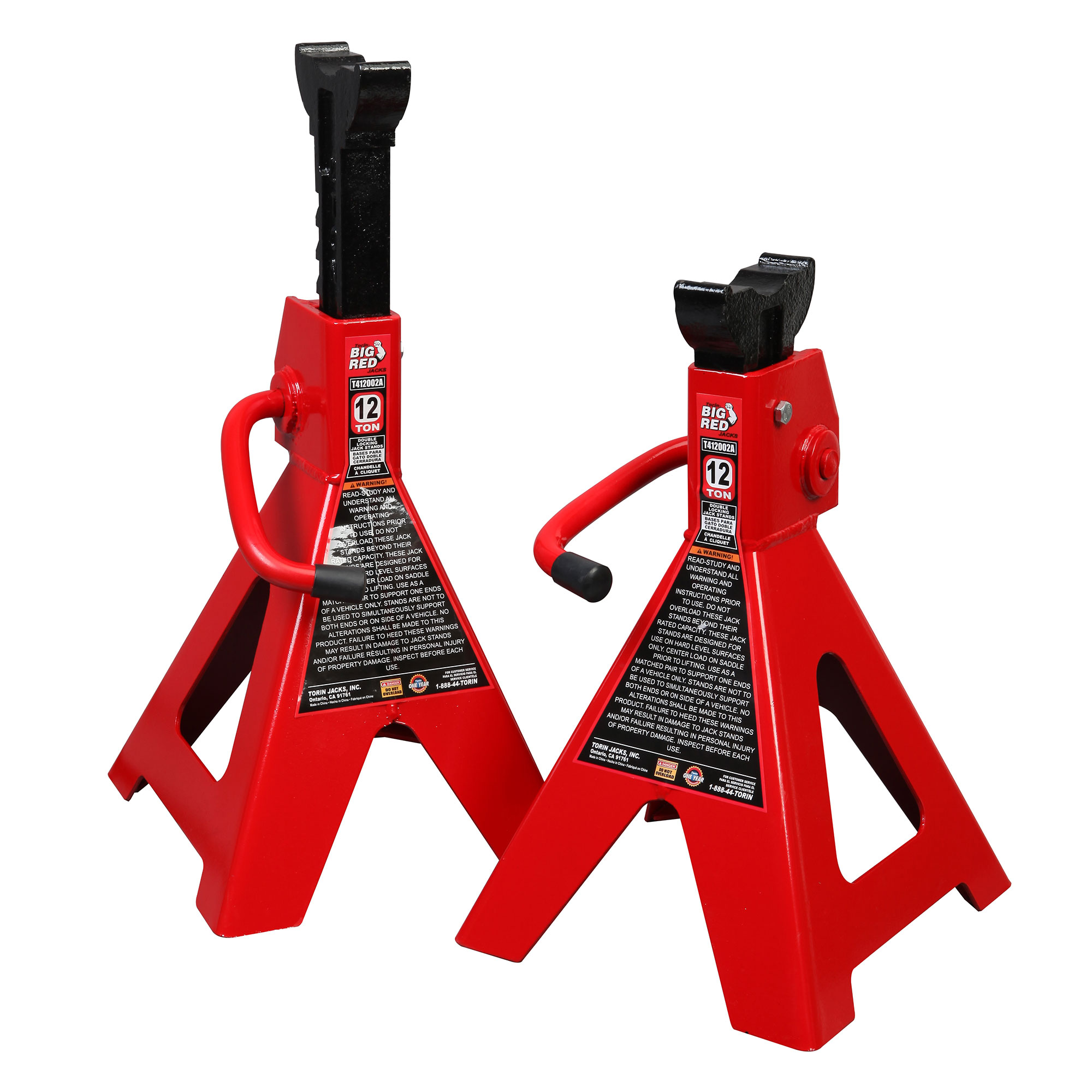 Torin Big Red 12 Ton Capacity Ratchet Style Heavy Duty Steel Jack Stands, 1 Pair