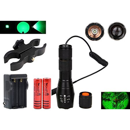 windfire green led light 300 yards tactical flashlight zoomable spot flood light torch coyote hog fox predator varmint hunting lamp kits with pressure switch, scope mount, 18650 battery and