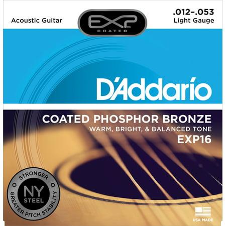 Daddario Ej15 Extra Light - D'Addario EXP16 Coated Phosphor Bronze Acoustic Guitar Strings, Light, 12-53