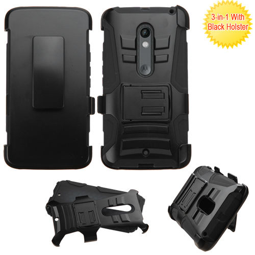 Motorola Droid Maxx 2 Belt Clip Holster Combo Cell Phone Case Kick Stand Cover