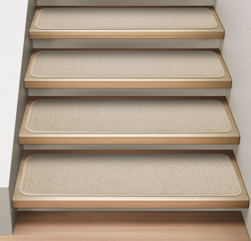 Set of 12 Attachable Indoor Carpet Stair Treads - Ivory Cream - 8 In. X 23.5 In. - Several Other Sizes to Choose From