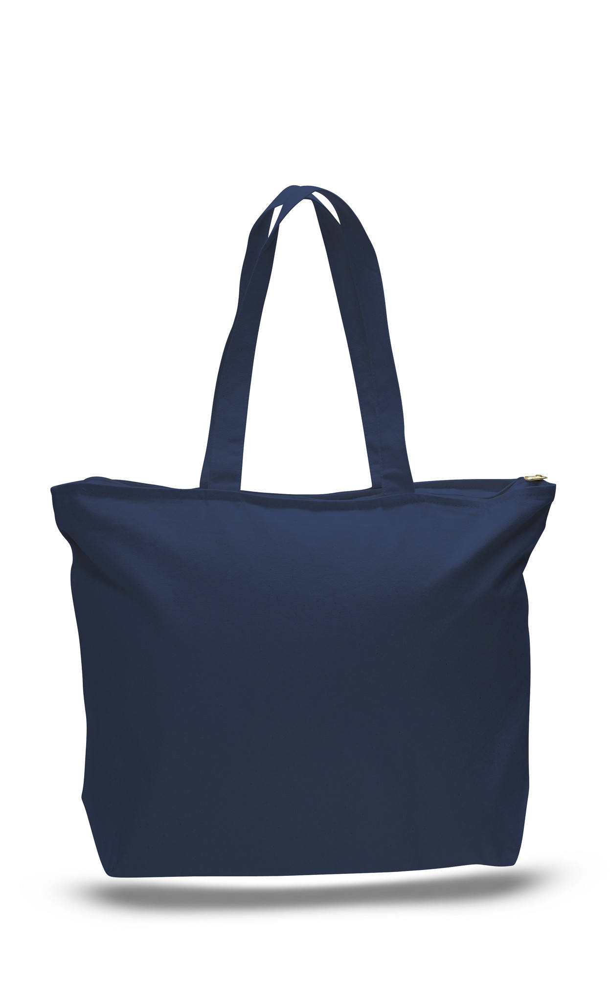 Strong Canvas Tote Bag with Zipper Pocket and Long Handles ...