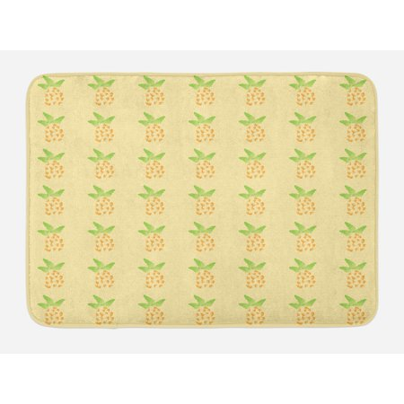 Exotic Bath Mat, Watercolor Pineapple with Brush Strokes Hawaii Themed Illustration, Non-Slip Plush Mat Bathroom Kitchen Laundry Room Decor, 29.5 X 17.5 Inches, Orange Pale Yellow Green, Ambesonne (Hawaiian Theme Decor)