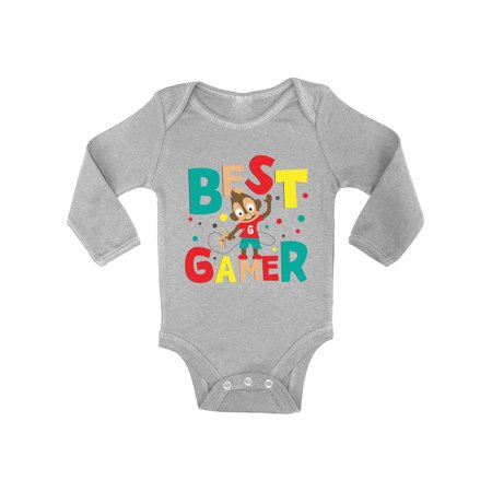 Awkward Styles Best Gamer Baby Bodysuit Long Sleeve Cute Baby Shower Gifts Baby Boy Best Gamer Clothing Video Game Birthday Party One Piece Top for Little Gamer Gifts for 1 Year