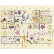 "Le Jardin Sampler Stamped Embroidery Kit, 14"" x 11"", Stitched In Thread"