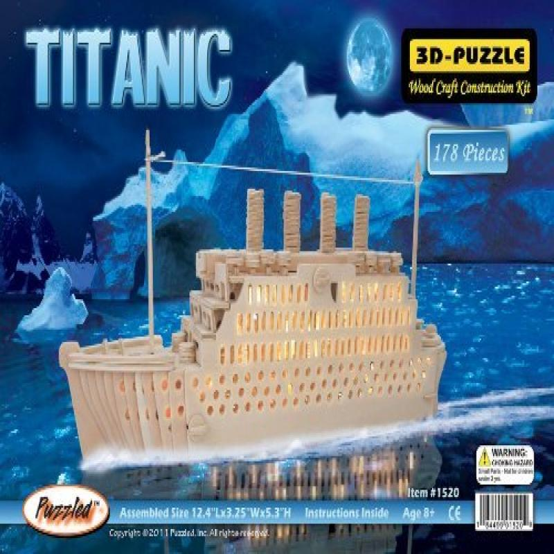Puzzled 3D Natural Wood Puzzle Titanic Model: 1520, Toys & Games for Kids & Child by