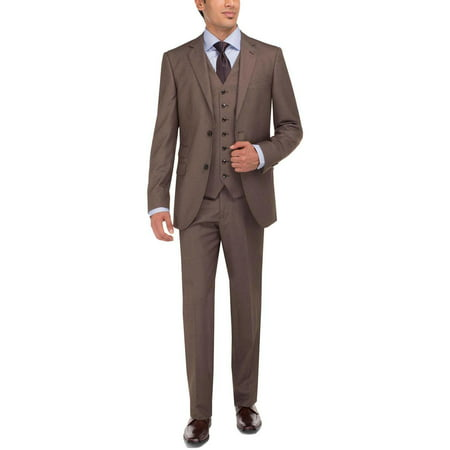 2 Piece Tweed (LN LUCIANO NATAZZI Men's Tweed Vested Suit Set Two Button Modern Fit Three Piece Lt.)