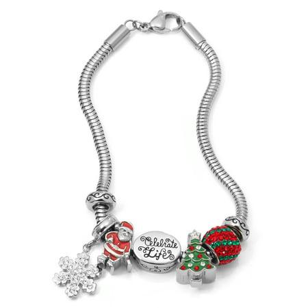 Crystal Stainless Steel Celebrate Life Christmas Charm Bracelet Set