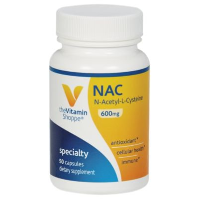 NAC NAcetylLCysteine 600mg  Provides Antioxidant Support, Cellular Health  Supports Liver Detoxification  Once Daily (50 Capsules) by The Vitamin Shoppe