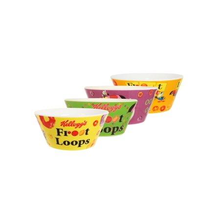 Kelloggs Bowls (Kelloggs Froot Loops Bowl  4pc Set )