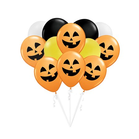Halloween Pumpkin Themed October 12 PC Party Gift Latex Balloon Bouquet - Halloween Theme Party Names