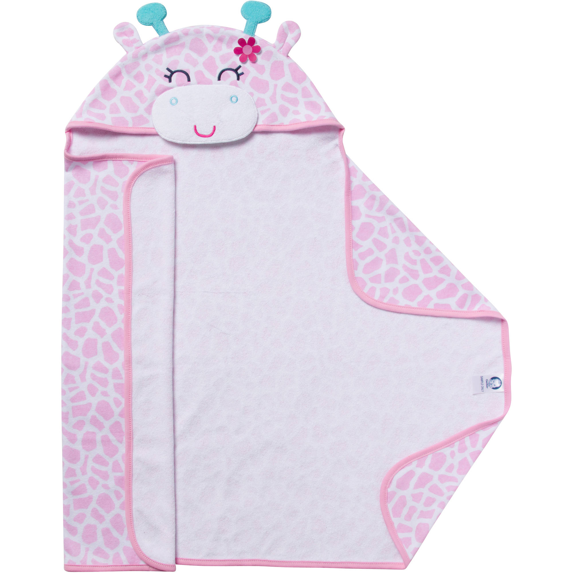 Gerber Newborn Baby Girl Terry Hooded Giraffe Bath Wrap