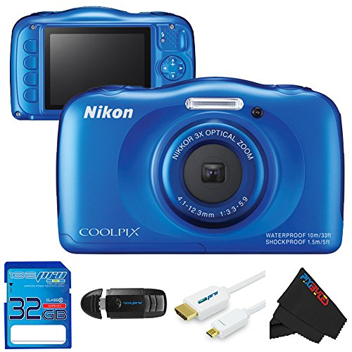 Nikon COOLPIX S33 13.2MP Waterproof Shockproof Digital Camera (Blue) + 32GB Pixi-Basic Accessory Bundle