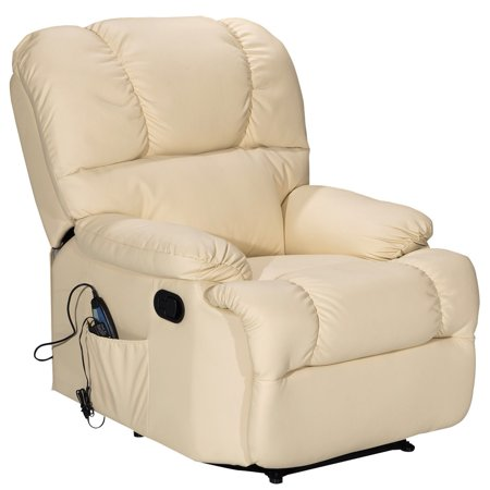 Costway recliner massage sofa chair deluxe ergonomic lounge couch heated w control beige - Ergonomic lounger ...