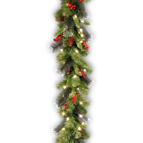 "National Tree Pre-Lit 9' x 10"" Crestwood Spruce Garland with 50 Clear Lights"