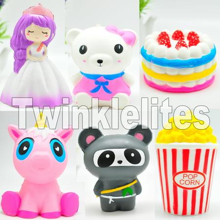 Squishy Slow Rising Squeeze CAT CUP, Ninja, Popcorn, Cake, Panda, Fun Stress Anxiety Reliever Cute Kawaii Animal Squishie Jumbo Soft 1pc