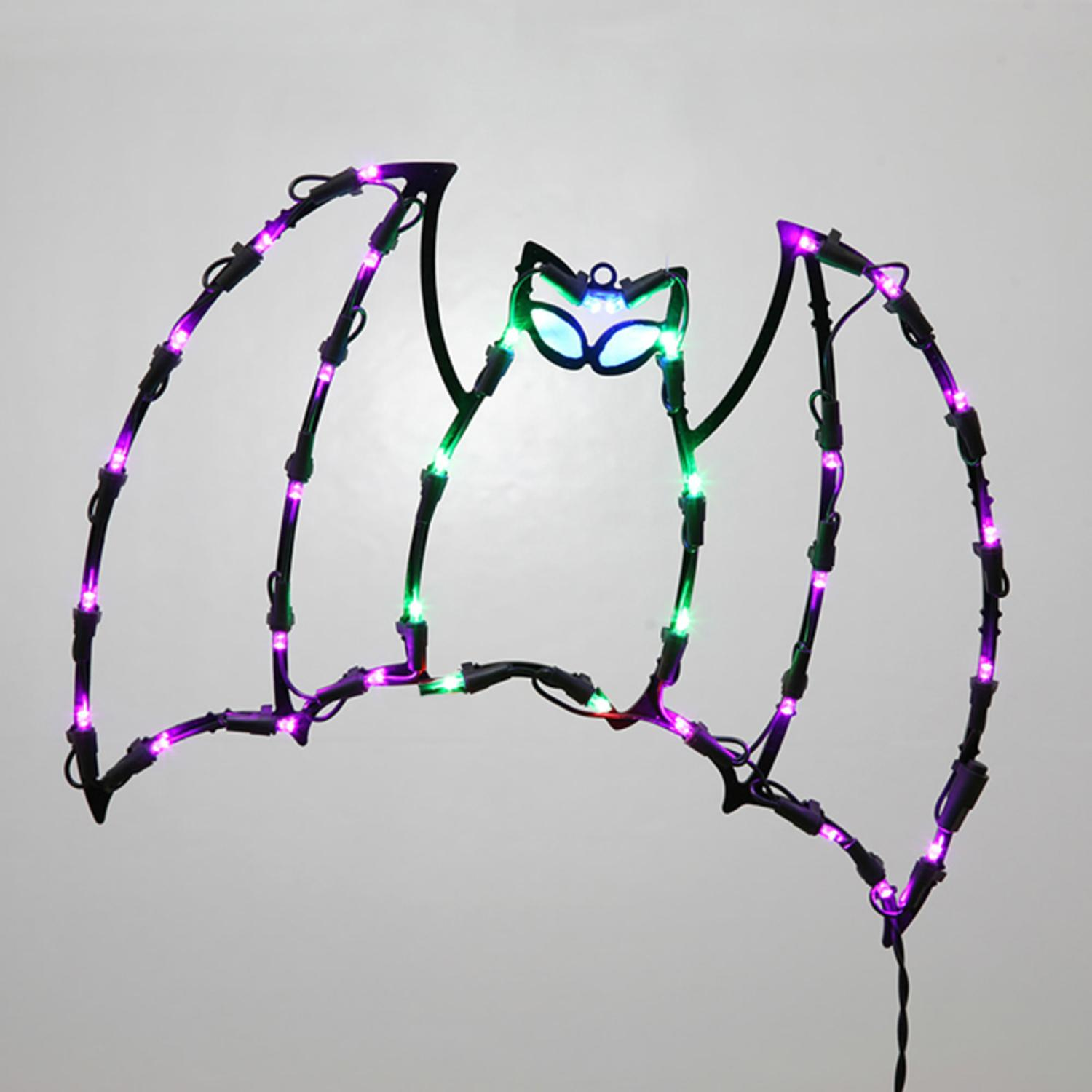 "13"" Lighted LED Bat Halloween Window Silhouette Decoration"