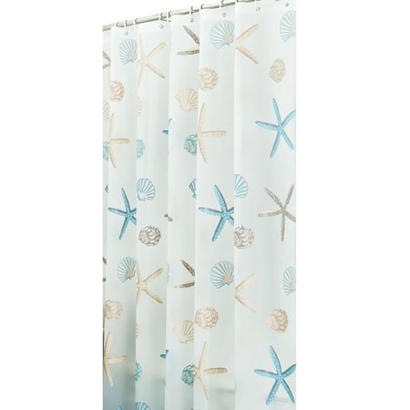 Tinymills 12 Hooks Shell Starfish Waterproof Shower Curtain Bathroom Liners PEVA Plastic Decor 180cmx200cm (Bathroom Shower Curtains Plastic)