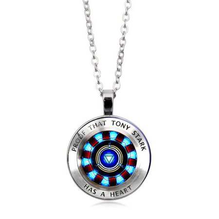 KABOER 1 PCS Gemstone Pendant Proof That Tony Stark Has A Heart Necklace Gift for Men  and Women Father